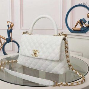 💯Cha nel💯  Caviar Quilted Small Coco Handle Flap White